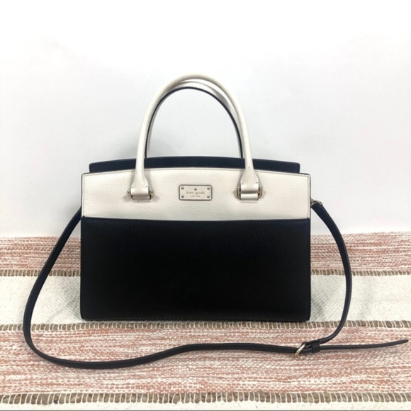 kate spade Handbags - Kate Spade Black and White Leather Tote